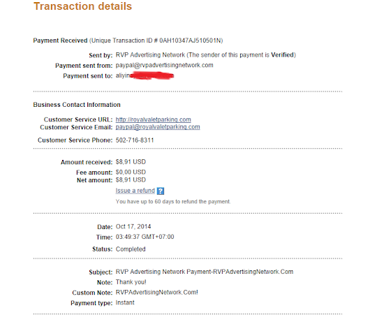 RVPADVERTISING network payment proof #2
