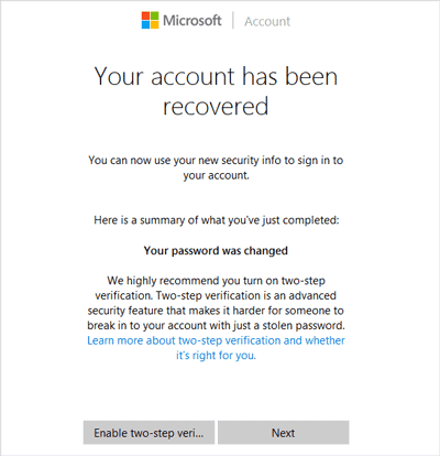 successfully recover Microsoft account and change password