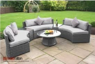 Maze Rattan Half Moon Corner Sofa in Grey Garden Furniture Set, Outdoor Furniture, Curved Patio Furniture, Modern Curved Sectionals, Curved Sectional, Curved Patio Furniture,