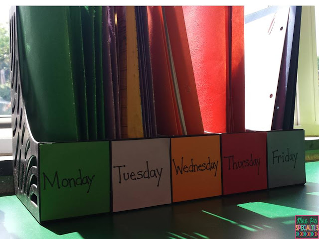 Easy system for organizing lesson plan materials.