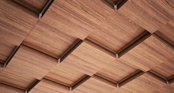 Simple Wood Ceiling Panels In Shape Of Tiles