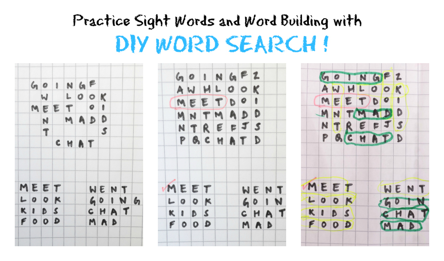 DIY sight word find worksheet for kids to reinforce words and to build problem solving skills.