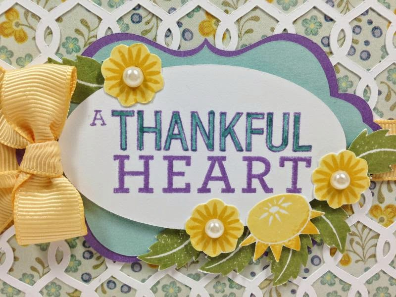 Close To My Heart Artfully Sent Cricut Cartridge Thankful Heart card close up