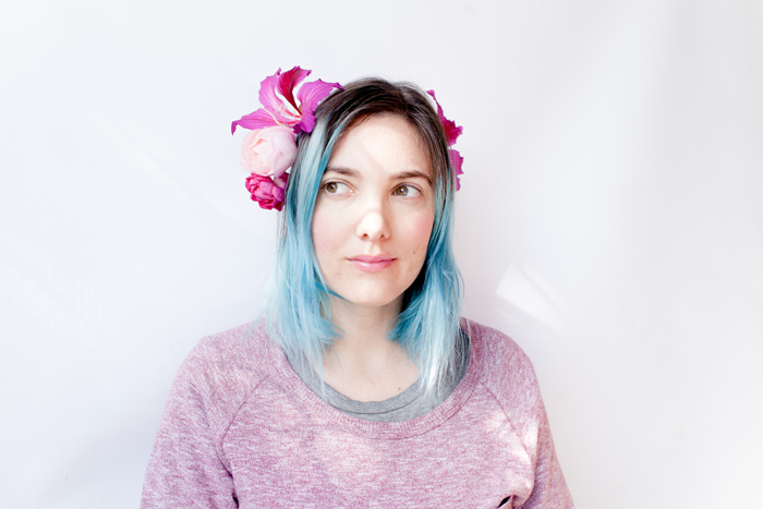 flower crown with blue hair