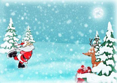 Navidad y año nuevo. Ilustración de Santa Claus patinando en la nieve, un reno junto a la bolsa de regalos navideños y pinos nevados.