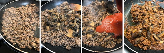 Making Lamb and Mushroom Mixture