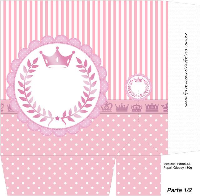 Cajas de Corona Rosada para imprimir gratis.