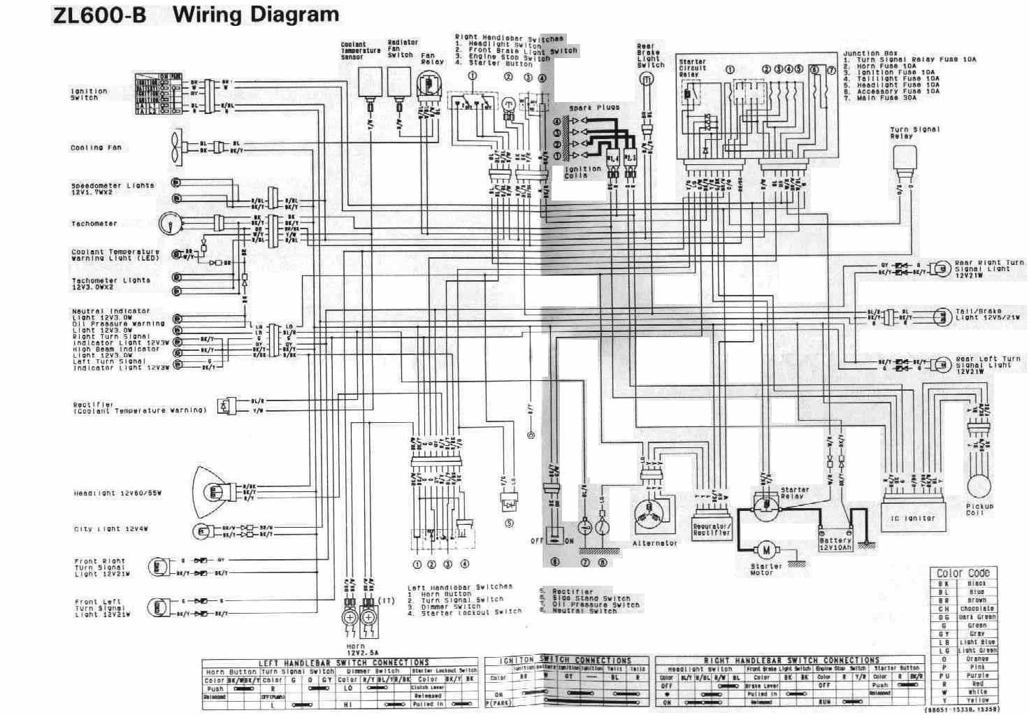 kawasaki zl600 1996 motorcycle wiring diagram