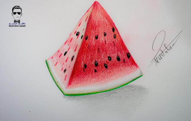 تعليم رسم البطيخ الاحمر