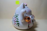 Seite Glocke: Japanische Maneki Neko Glückskatze aus Porzellan (Klein, 12 cm)