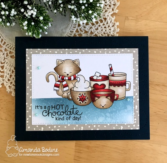 Hot chocolate Card by Amanda Bodine | Cup of Cocoa  and Newton's Holiday Mischief Stamp Sets by Newton's Nook Designs #newtonsnook #handmade