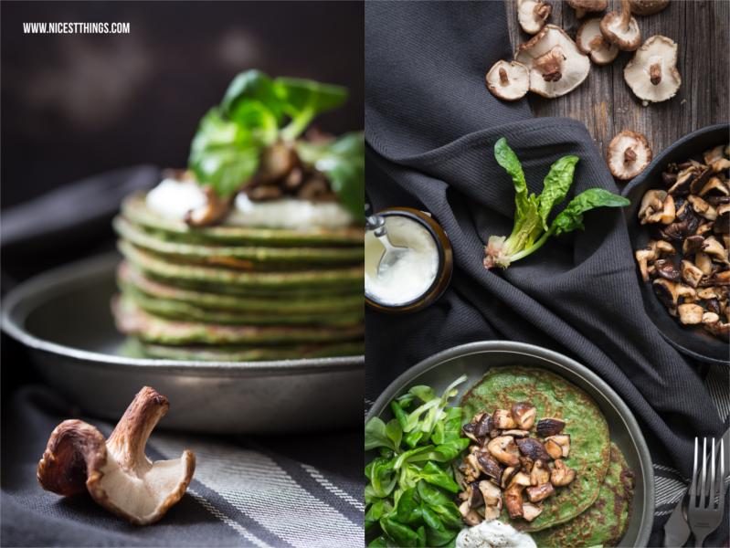 gesunde Dinkel Pfannkuchen mit Spinat und Pilzen