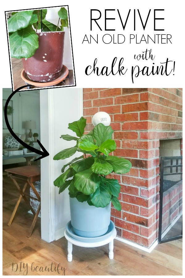 planter makeover using chalky paint