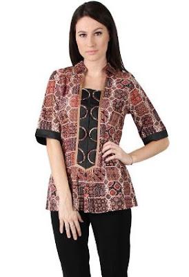Baju kemeja cewek kombinasi batik mewah