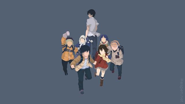 Tapeta z DeviantArt Full HD na której widoczni są bohaterowie Boku Dake ga Inai Machi