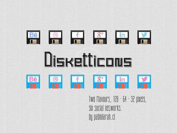 Freebie, Disketticons Social Icons by Pablo Lara H