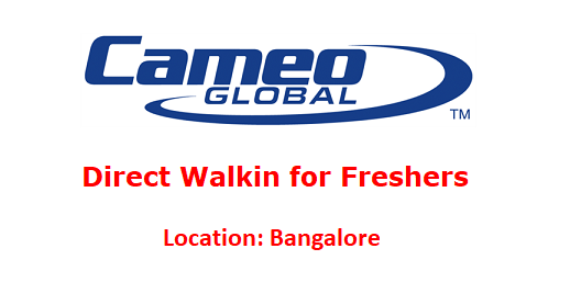 Cameo Global Walkin for Freshers as IT Analyst on 12th & 13th July 2018 @ Bangalore