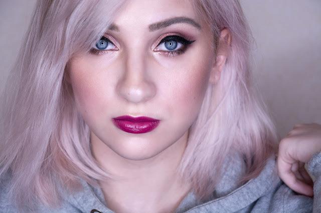 макияж с ягодной помадой