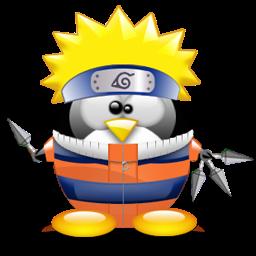 NARUTO うずまきナルトのコスプレをしたLinuxペンギン。