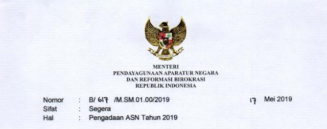 Surat Edaran MENPANRB tentang Pengadaan ASN Tahun 2019