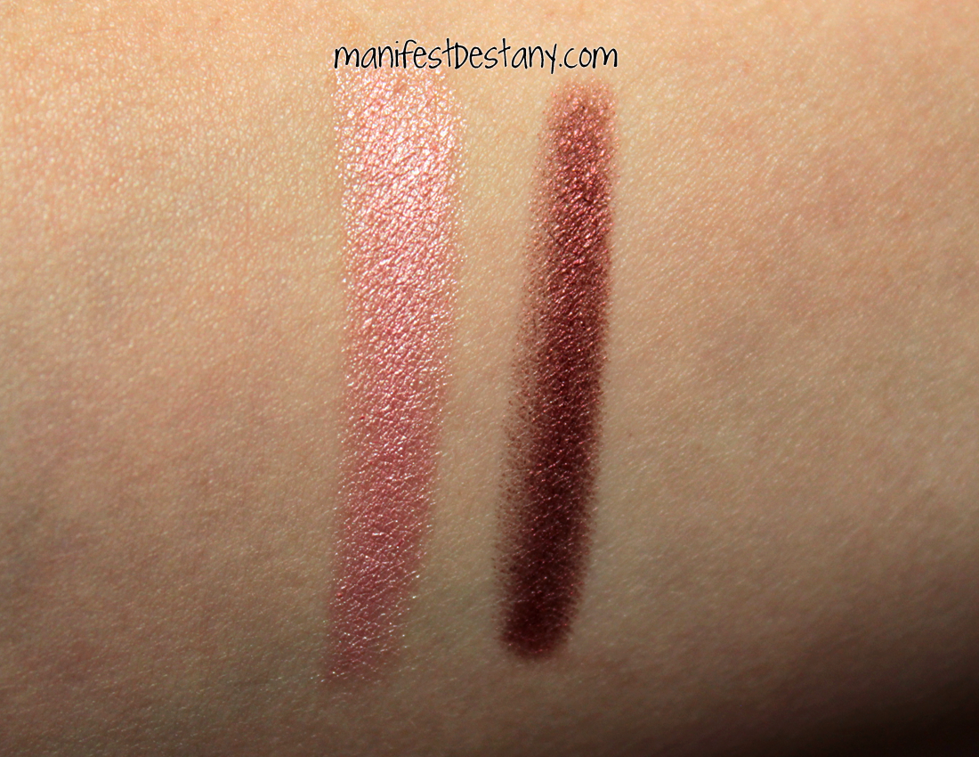 Nyx Jumbo Eye Pencils In Strawberry Milk And Rust Confessions Of A Pencil Im Huge Fan Lip As They Are Easy To Use Even Easier For Travel Below Swatches Each Color One Swipe Down My Arm