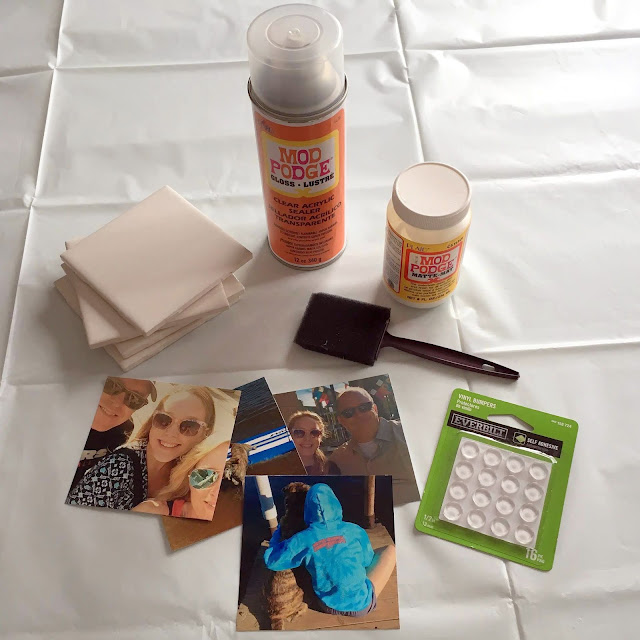 Supplies to make personalized photo coasters