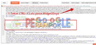 Mencari kode di template blogger