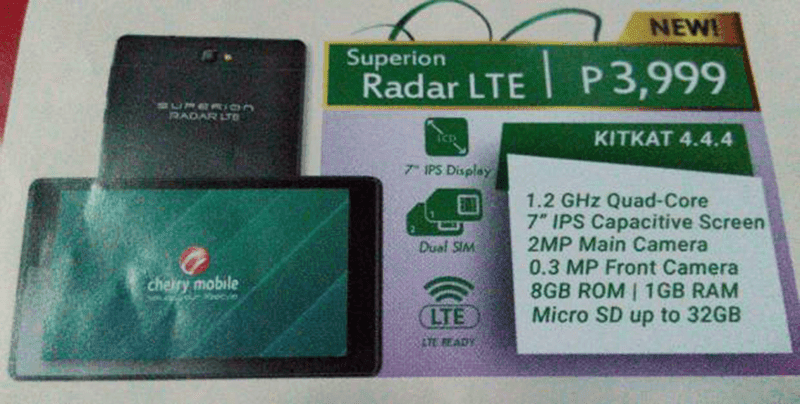Cherry Mobile Superion Radar LTE Spotted, One Of The Rare LTE Tabs From A Local Brand! Priced At Just 3999 Pesos!