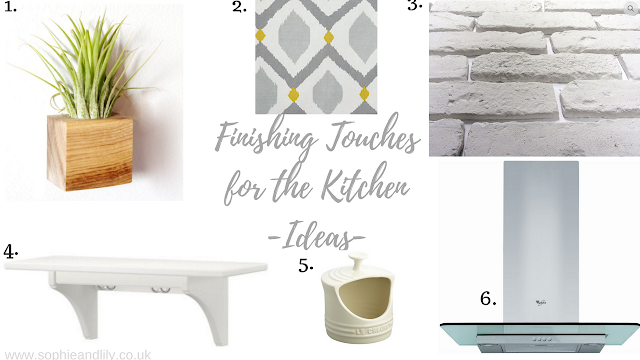 ideal finishing touches to kitchen, planter, wall tiles, blind, cooker hood, shelf and salt pig