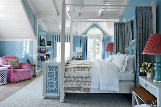 high gloss master blue bedroom, high gloss white ceilings, canopy bed, Hamptons, Chris Burch