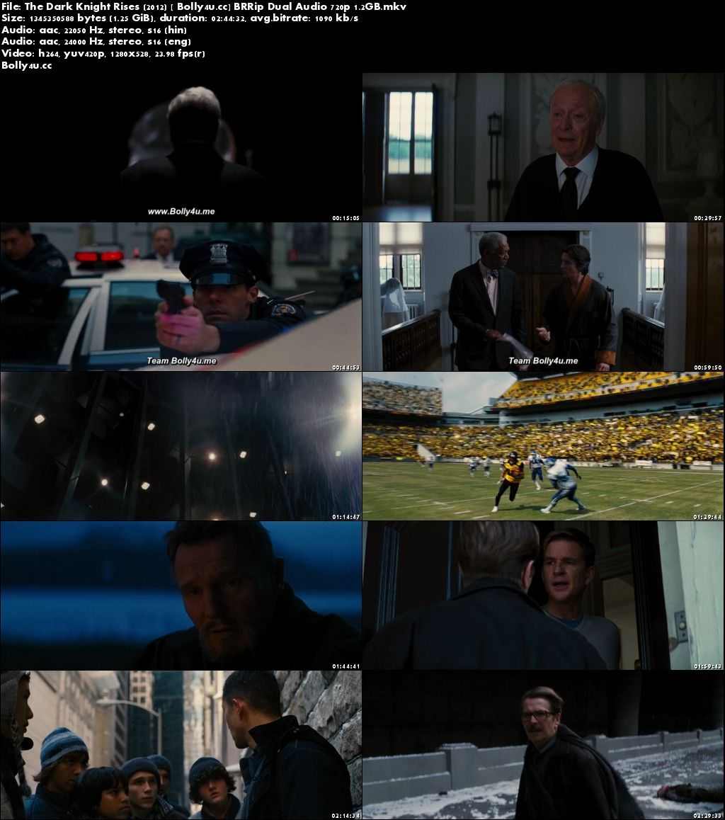 The Dark Knight Rises 2012 BRRip 500MB Hindi Dual Audio 480p Download
