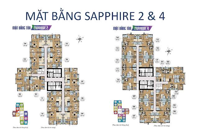Mặt bằng và diện tích các căn hộ tòa Sapphire 2 và 4