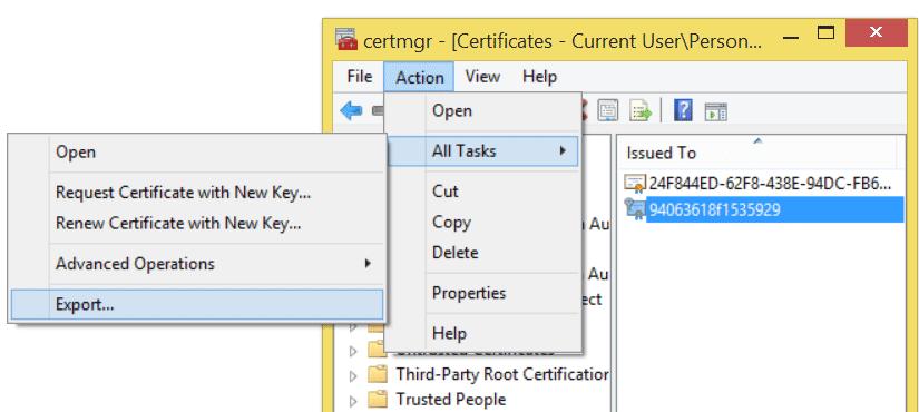 Certificate Export Step