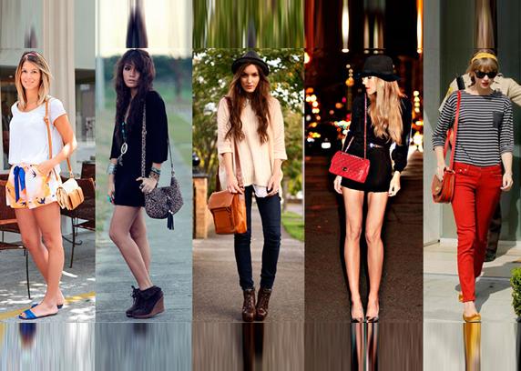 Modelos, celebridades e fashionistas usando bolsa transversal feminina coloridas