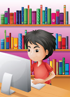 Clipart image of a boy at a computer in front of bookshelves