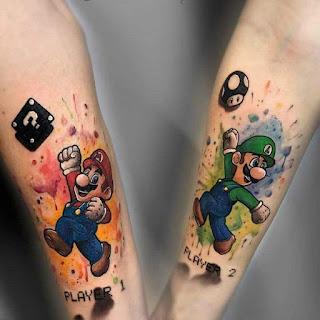 Tatuaje de Mario Bros y Luigi