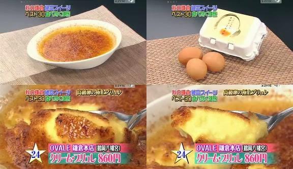 ขนมญี่ปุ่น, ขนมประเทศญี่ปุ่น, จัดอันดับอาหาร, อาหารญี่ปุ่น, ครีมบรูเล่