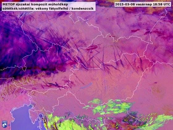 Óriási csíkokat fotóztak le Magyarország felett