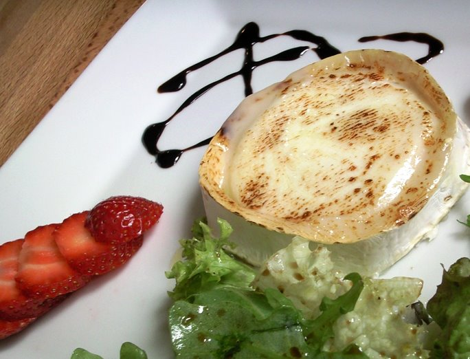 Grilled Goats Cheese with Balsamic Dressed Leaves and Strawberries