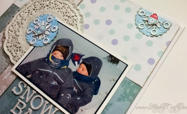 Snow Babies layout for Practical Scrappers sketch -- www.MightyCrafty.me
