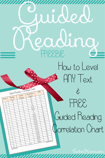 FREE Guided Reading Correlation Chart & How to Level ANY Text TeacherKarma.com