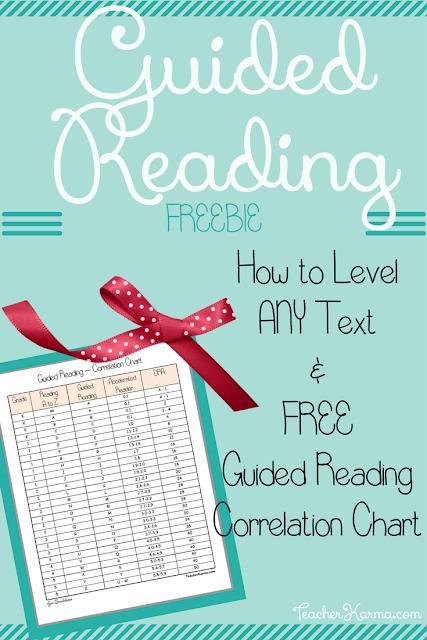 FREE Guided Reading Correlation Chart & How to Level ANY Text TeacherKarma.com