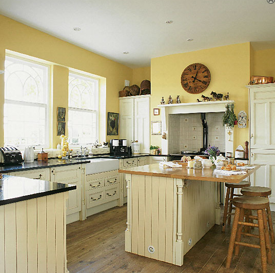 Pale Yellow Kitchen Cabinets: New Home Interior Design: Country Kitchens