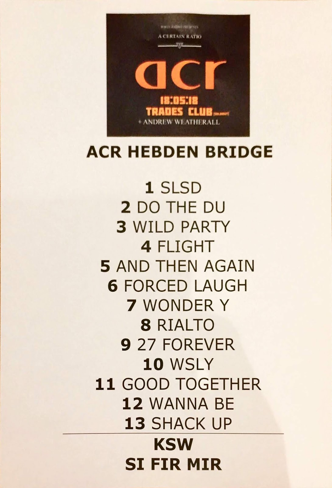 18 May 2018, Trades Club, Hebden Bridge - setlist - ACR Gigography