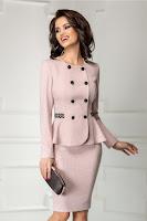 Compleu Leonard Collection roz cu buline mici si broderii