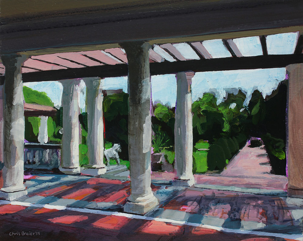 Acrylic painting of The Belvedere pavilion at Sonnenberg Gardens located in Canandaigua NY