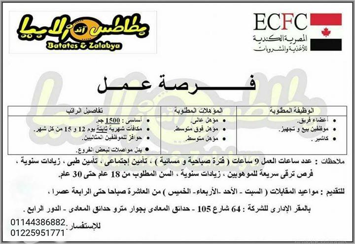 """وظائف المصرية الكندية """" للمؤهلات العليا وفوق المتوسطة والمتوسطة """" برواتب تبدأ من 1500 جنيه ومكافآت وحوافز شهرياً - اضغط للتقديم"""