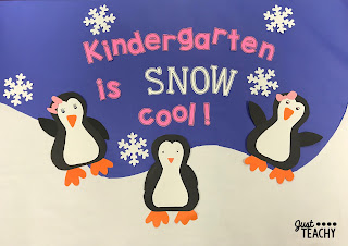 Penguin Craft and Bulletin Board Display, www.JustTeachy.com