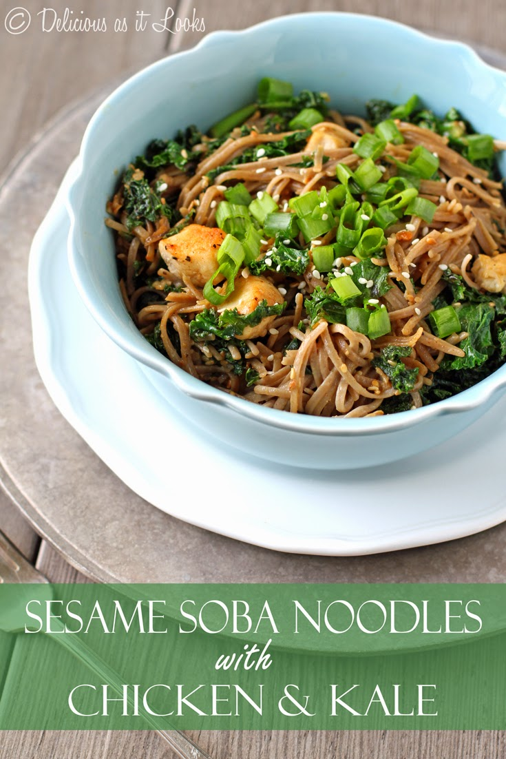 Sesame Soba Noodles with Chicken & Kale {Low-FODMAP, Gluten-Free, Dairy-Free, Egg-Free}  /  Delicious as it Looks