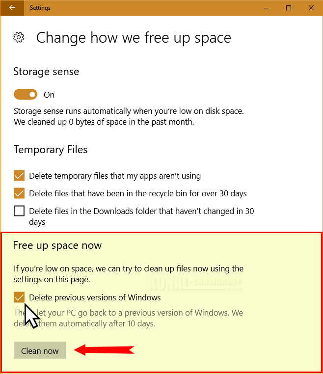 Free up space by deleting old version of Windows 10 (www.kunal-chowdhury.com)